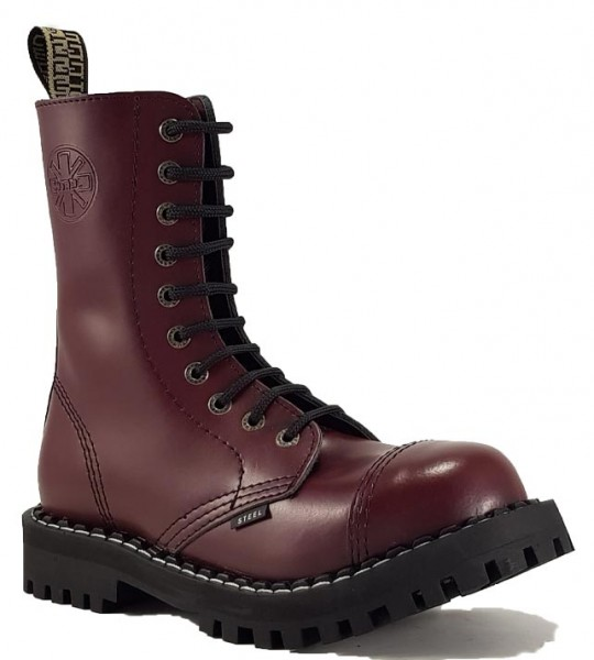Steel Boots 10 Eyelets Burgundy