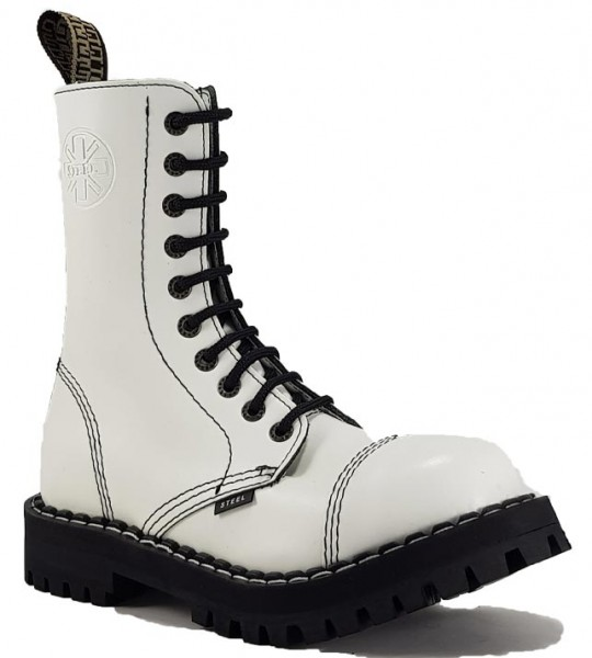 Steel Boots 10 Eyelets White