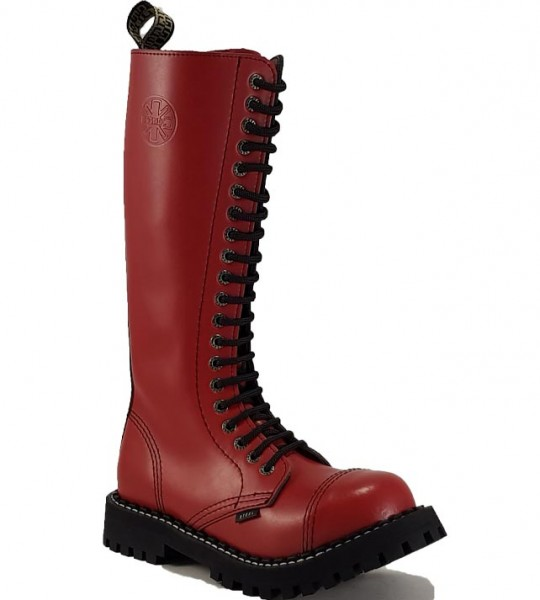 Steel Boots 20 Eyelets Red