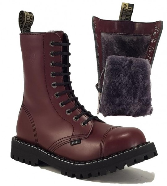 Steel Boots 10 Eyelets Burgundy Warm