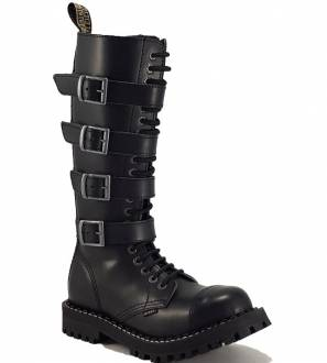 Steel Boots 20 Eyelets Black With 4 Buckles ZIP