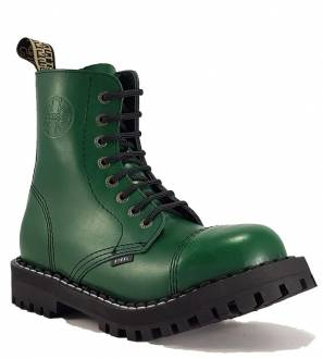 Steel Boots 8 Eyelets Green