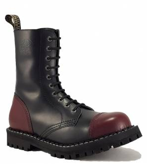 Steel Boots 10 Eyelets Black and Burgundy