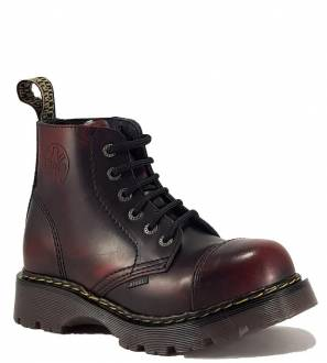 Steel Boots 6 Eyelets Burgundy Rub Off Air