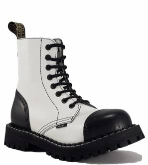 Steel Boots 8 Eyelets White and Black
